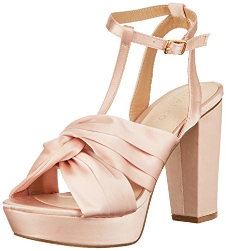 Beige 29 con Powder Abierta Sandal Sandalias Bianco Mujer Strap Punta Satin xaqW8S