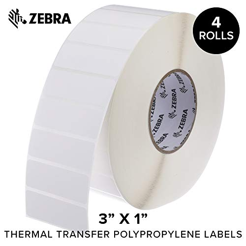 Zebra White Resin Ribbon - Zebra - 3 x 1 in Thermal Transfer Polypropylene Labels, PolyPro 3000T Permanent Adhesive Shipping Labels, Zebra Industrial Printer Compatible, 3 in Core - 4 Rolls
