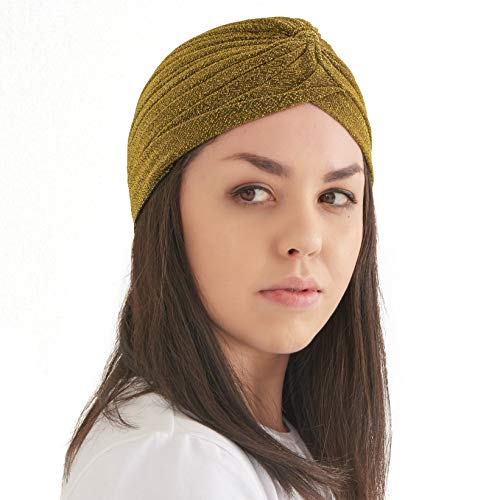 CHARM Womens Fortune Teller Turban - Glitter Fashion Afro Accessory Headwrap Hair Wrap Boho Chemo Hat Gold]()