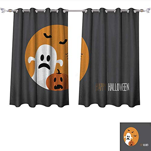 DragonBui Thermal Insulating Blackout Curtain Happy Halloween Card with Evil Laughing Pumpkin and a Ghost Pocket Insulated Tie Up Curtains W55 x L72/Pair ()