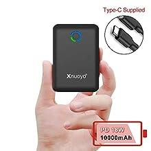 Xnuoyo PD 18W Mini Power Bank 10000mAh, Carga Rápida 3.0 Cargador Portátil USB C Entrada/Salida Paquete de Batería Externa Powerbank de Alta Capacidad Compatible con los Teléfonos Inteligentes(Black)