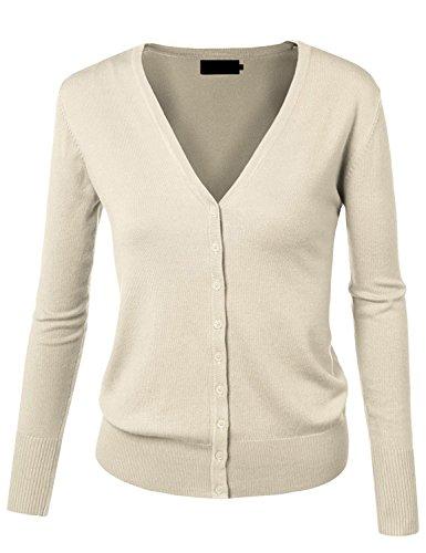[MAYSIX APPAREL Women's Long Sleeve Lightweight Button Down Soft Knit Cardigan Sweater IVORY XL] (Long Sleeve Woven Sweater)