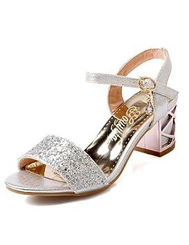 Peep Toe Tacones Sandalias Zapatos Chunky tacón puntiagudo Toe sandalias fiesta y noche/Vestido Azul
