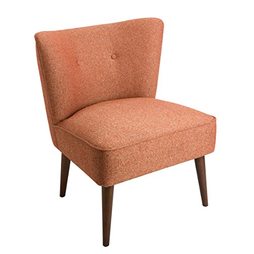 Spatial Order Kaufmann Modern Armless Accent Chair with Button Tufting, Orange