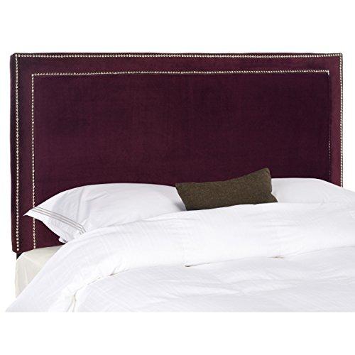 Bordeaux Red Frame - Safavieh Cory Bordeaux Velvet Upholstered Headboard - Silver Nailhead (Queen)