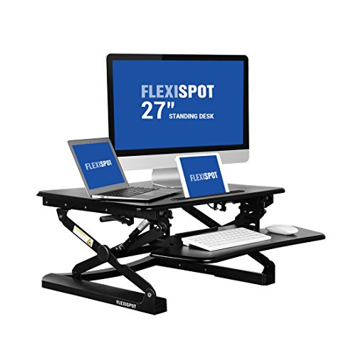 FlexiSpot 27' wide Stand Up Desk with wider keybaord tray - M1B Height-Adjustable Standing Desk Riser (S-Size-Black)