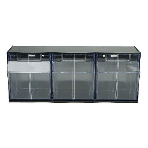 Mind Reader BIN3-BLK Multi Purpose Storage Tilt Drawer, 3 Compartment Removable Bins, Tip Out Clear Bins, Black