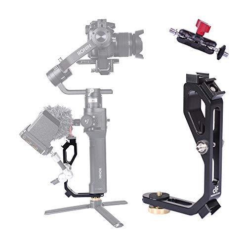 DF DIGITALFOTO Handle Grip L Bracket Accessories for Mounting Monitor with Bean Grip Compatible with DJI Ronin S ZHIYUN Crane M Crane 2 Plus/MOZA 2/FEIYU Almost All Gimbal with 1/4 inch Screw Hole