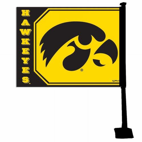 Game Day Outfitters NCAA Iowa Hawkeyes Car Flag - Iowa Hawkeyes Car Flag