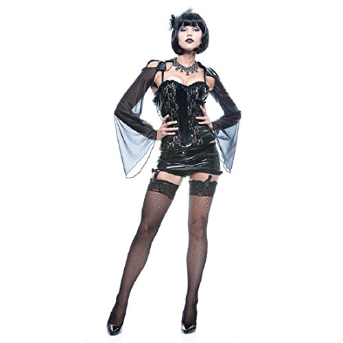 Paper Magic Women's French Kiss Midnight Mistress Costume,Black,Small