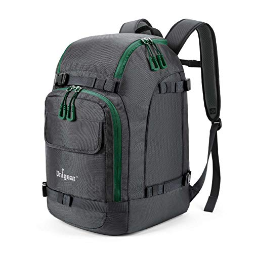 Unigear Ski Boot Bag, 55L Ski Boot Travel Backpack for Ski Helmet, Goggles, Gloves, Skis, Snowboard & Accessories (Gray)