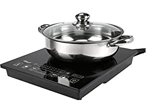 Rosewill RHAI-15001 1800W 5 Pre-Programmed Settings Induction Cooker Cooktop with Stainless Steel Pot, Black