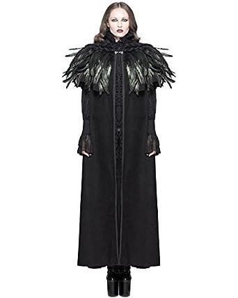 6dfb1757c07f Devil Fashion Damen Umhang Mantel Jacke Schwarz mit Kapuze Krähe Feder Goth  Steampunk - Schwarz,