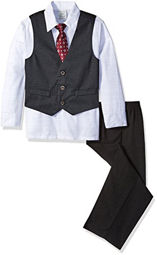 - Perry Ellis Little Boys Diamond Dot Dobby Vest Set, White, 7