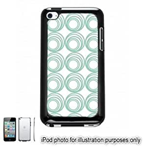 Pastel Teal Green Circle Swirls Pattern Apple iPod 4 Touch Hard Case Cover Shell Black 4th Generation