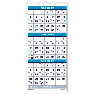 House of Doolittle Three-Month Compact Academic Calendar 12 Months June 2014 to July 2015, 8 x 17 Inches, Large Numbered Days, Recycled (HOD3645) ()