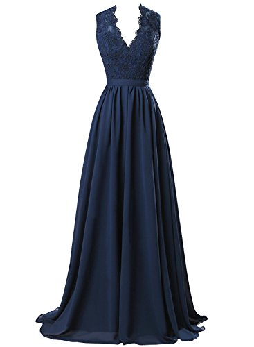 Bess Black V Dress Party Back Lace Neck Evening Formal Women s Open Chiffon Bridal gqarOwg