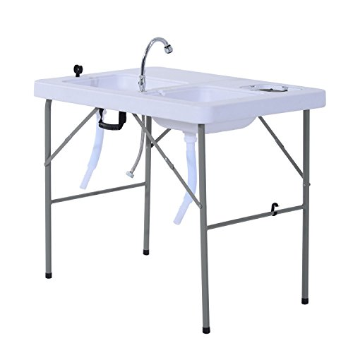 GJH One Fish Cleaning Table Portable Folding Faucet Sink Outdoor Camping Kitchen 39.8
