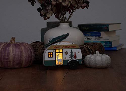 41huyesUdvL Holz Deko Wohnwagen mit Tannenbaum beleuchtet - LED Weihnachtsdekoration Tischdeko