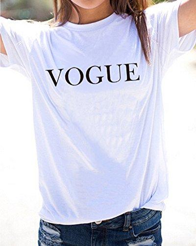 Casuale Donne Stampa Corte Maglietta Vogue oro Maniche Ragazze Estate Elegante Shirt Bianco T Blusa Girocollo Camicetta di Minetom Tops Slogan qd8vfwq