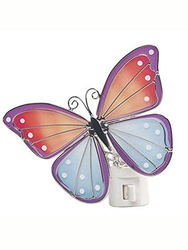 Colorful Orange & Blue Glass Butterfly NightLight by Ganz