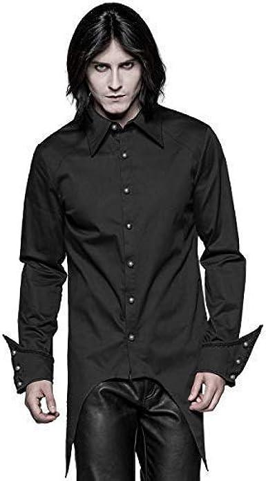Punk Rave Hombre Vampiro Gótico Camisa Top Negro Steampunk Vintage Victoriano Boda: Amazon.es: Ropa y accesorios