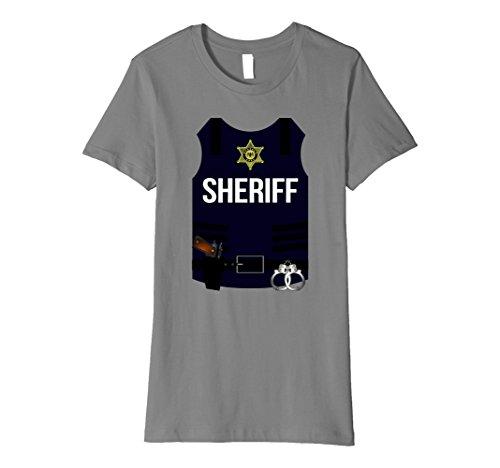 Halloween Cop Ideas Costume (Womens Sheriff Vest Halloween Costume Shirt - Cops Men Women Youth Medium)