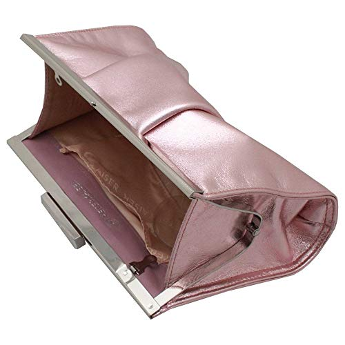 Close Kaiser Clutch Clasp Peter Handbag Likana Metallic Framed Pink dSHxxwqI