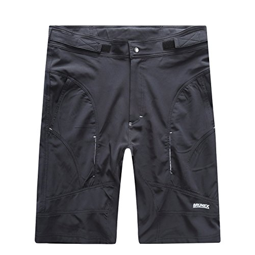 BikeAnything Men's MTB Baggy Mountain Bike Shorts with Removeable Cycling Padded Liner Short