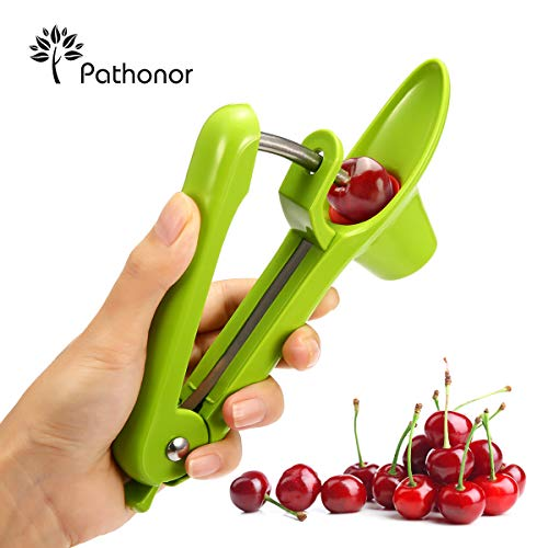 Cherry Pitter,PATHONOR Cherry Pitter Remover And Olive Pitter Tool,Professional Cherry Stoner Seed Remover,Quality Silicone With Stainless Creative Design,Safer Quick Easy,Great For Jam Cake Cooking.