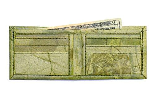 Green Leaf Leather - Leaf Leather Bifold Wallet - Flip Fold Design Mens Wallet, Handmade - Green