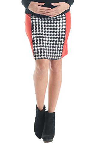 Lilac Paneled Pencil Maternity Skirt - Houndstooth - Black/Red - X-Large