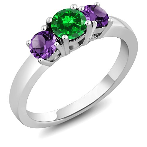 Gem Stone King 925 Sterling Silver Green Simulated Emerald and Purple Amethyst 3-Stone Women s Ring 1.34 Ct Round Cut Available 5,6,7,8,9