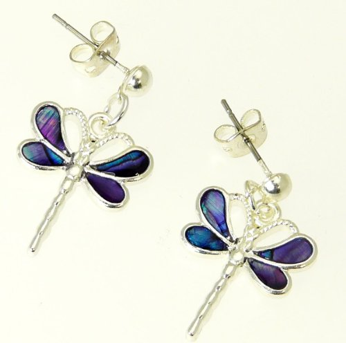 Purple Abalone Shell - Beautiful Natural Purple Abalone Paua Shell Dragonfly Earrings