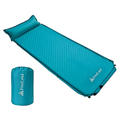 Freeland Camping Sleeping Pad Self Inflating with Attached Pillow, Compact, Lightweight, Large