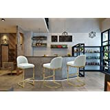 Iconic Home FBS9473-AN Xander Bar Stool Chair PU Leather Upholstered Armless Design Half-Moon Gold Plated Solid Metal U-Shaped Base Modern Contemporary Silver, Grey