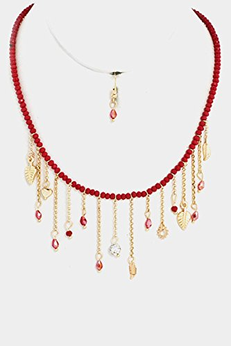 GlitZ Finery Multi Jewel Dangle Simple Beaded Necklace Set (Red)