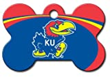 Personalized Laser Engraved 1.5 x 1 Inch Kansas Jayhawks Bone Shaped Pet ID Tag - Free Tag Silencer