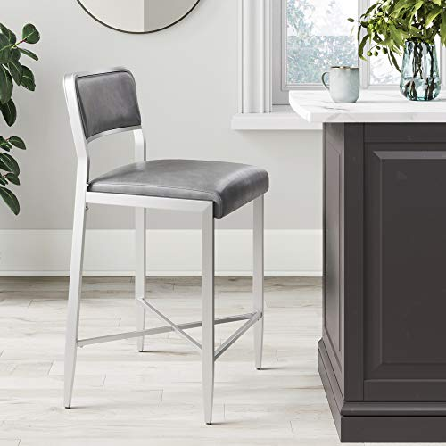 Nathan James 23102 Kira Counter Bar Stool Set of 2 Leather Cushion Metal Frame 24 with Backrest, Gray Silver