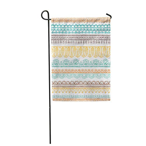 Semtomn Garden Flag 12x18 Inches Print On Two Side Polyester Border Crochet Ethnic Pattern Knitted Lacy on Boundless Home Yard Farm Fade Resistant Outdoor House Decor -