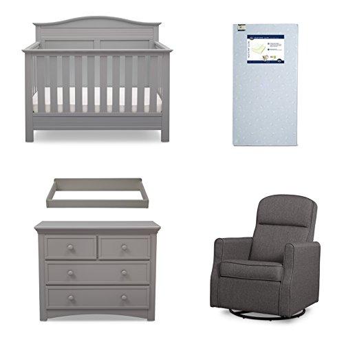 Serta Barrett 5-Piece Nursery Furniture Set (Serta Convertible Crib, 4-Drawer Dresser, Changing Top, Serta Crib Mattress, Glider), Grey