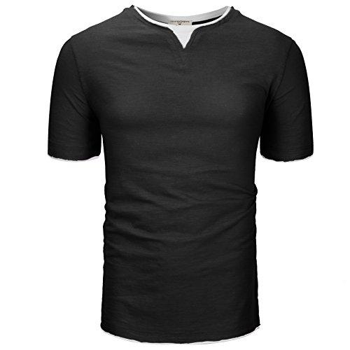 Derminpro Men's Slim Fit Short Sleeve Casual Contrast T-Shirt Black Large