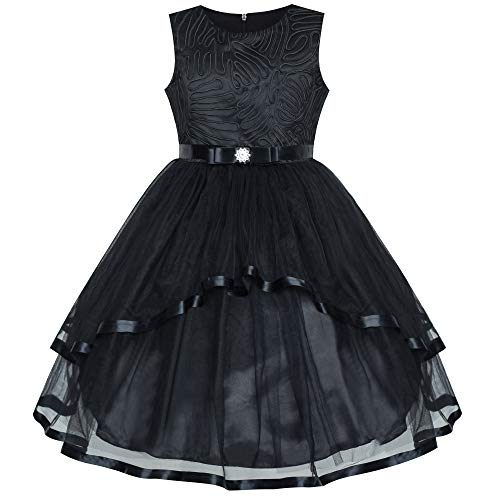 Sunny Fashion Flower Girl Dress Black Wedding Party Bridesmaid Dress Size 10]()