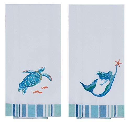 (Kay Dee Designs Sea Splash Sea Turtle and Mermaid Embroidered Kitchen Tea Towels (1 of Each))