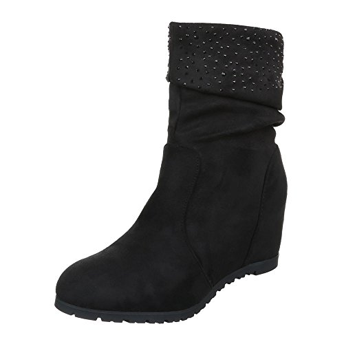 Ital-Design Damen Schuhe Keilabsatz Plateau Reißverschluss Keilstiefel Stiefel Keilabsatz/Wedge Schwarz