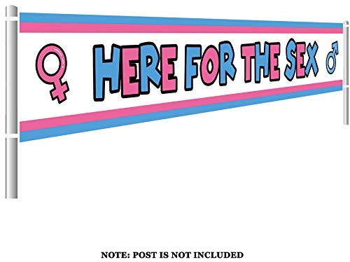 Colormoon Gender Reveal Banner, Large Here for The Sex Banner, Gender Reveal Party Supplies Decorations (9.8 x 1.5 feet)]()