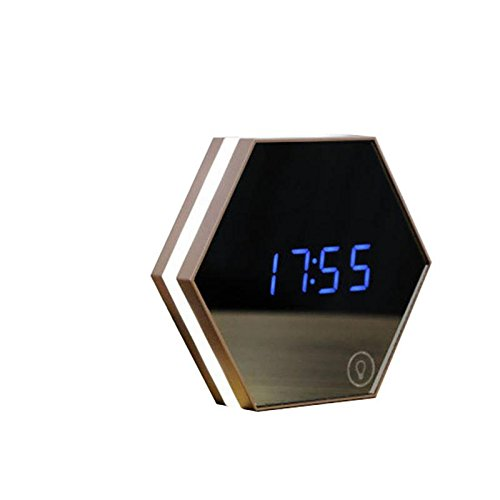 Atilim Mirror Travel Alarm Clock Digital Clock Wall with Temperture Display, LED Nightlight with Voice Control, Sound Sensitive Digital Clock with Strong Magnetic Adsorption, Creative Gifts for Kids (Clock Wall Magnetic)