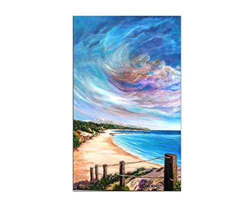 Seascape Original Oil painting on canvas, istanbul beach wall art, landscape painting nature wall art 50x80 cm Signed by Artist N. (Landscape Painting Signed)
