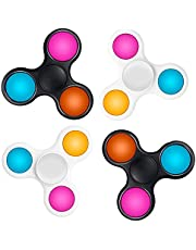 بوب ات فيدجيتس سبينر، لعبة فقاعات حسية من السيليكون، العاب حسية لتخفيف الضغط للاطفال والكبار (3 اف، ابيض+ اسود، 4 قطع)