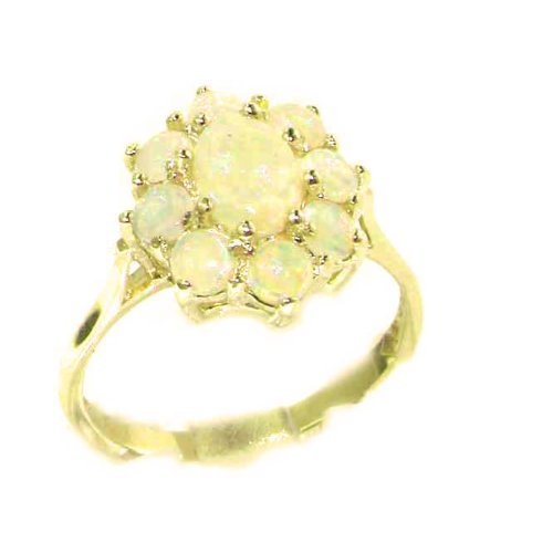 14k Yellow Gold Natural Opal Womens Cluster Ring - Sizes 4 to 12 Available